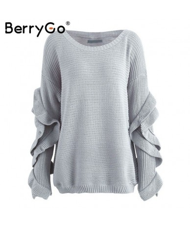Ruffles flare sleeve knitted pullover Sexy one shoulder round neck sweater women Autumn winter loose streetwear jumpers - Gr...