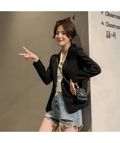 2019 autumn new Korean women's small suit jacket long-sleeved casual temperament wild short women's suit office jacket - A -...