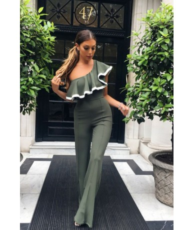 One Shoulder Women Jumpsuit Sexy Ruffles Rompers Womens Jumpsuits Elegant Ladies Party Wide Leg Pants Overalls - Gray - 4X39...