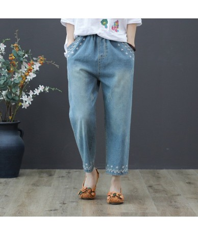2019 Spring Summer Women Straight Denim Pants Blue High Waist Jeans Woman Casual Vintage Embroidery Boyfriend Mom Jeans - bl...