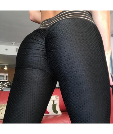 2018 Women New Black Scrunch Butt leggings Striped Waistband Ruched Pants Push Up Booty Scrunch Leggings Workout leggings - ...
