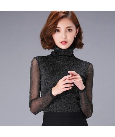 Women Blouses Long Sleeve Turtleneck Winter Elegant Women Blouse Fashion Women Tops Big Plus Size Ladies Blouses - Gray - 45...