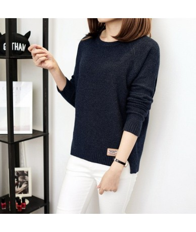 Autumn Sweater 2018 New Women Winter Pullover Fashion O-neck Casual Women Sweaters Warm Long Sleeve Knitted Sweater - Blue -...