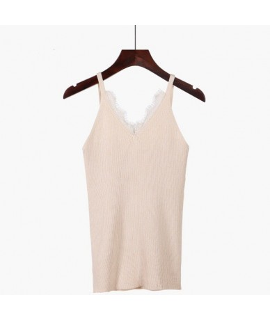 Lace Knitted Women Tank Top Sleeveless Sexy Top Fashion Casual Summer Vest Female Tee Shirt - Apricot 815 - 4K3087802678-1