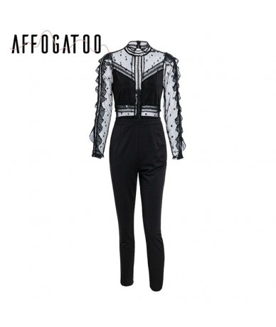 Affogatoo Backless zipper lace jumpsuits rompers women Transparent long sleeve sexy jumpsuit O neck elegant party playsuit 2...