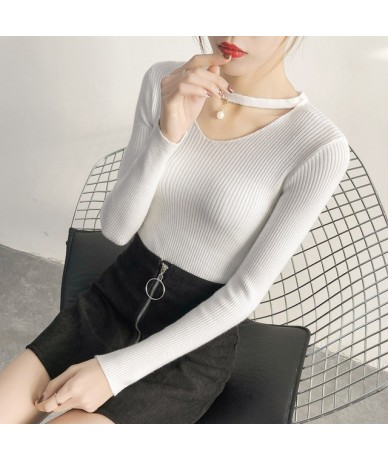 V Neck White Sweaters Women 2019 Autumn Winter New Long Sleeve Sexy Slim Tops Solid Streetwear knitted korean pullover - Whi...