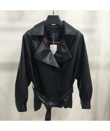 2019 Spring Autumn Women Vintage Faux Leather Jackets and Coats Solid Loose Motorcycle PU Jacket Outwear With Sashes - Black...