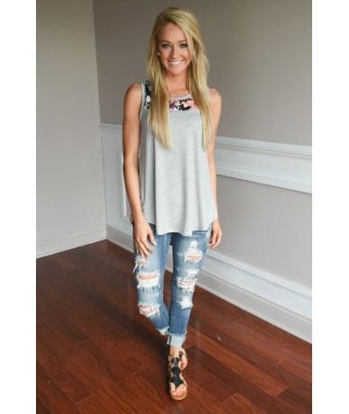 2XL 3XL Summer Tank Tops Loose Casual Sleeveless O-Neck Splice Print T Shirt Plus Size Female Summer T Shirt Top - 1131 Gray...