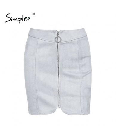 Sexy leather suede pencil skirt women Zipper ring autumn winter high waist short skirt 2017 Bodycon party mini skirt - Gray ...