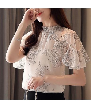 Fashion women tops and blouses 2019 ladies tops white blouse shirt lace blouse short sleeve shirt women shirts Ruffles 4361 ...