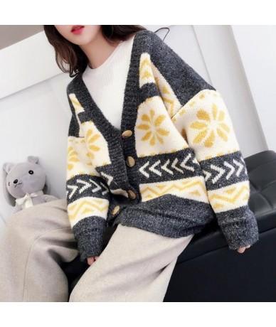 Women Cardigans Autumn Winter Warm Loose Knitted Jacket Button Basic Sweaters Coat Ladies Elegant Oversize Cardigan SF864 - ...