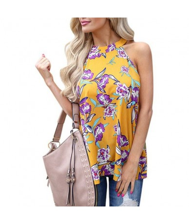 Elegant Sleeveless Halter Womens Chiffon Tops Blouses Vintage Floral Printed Summer Boho Beach Shirts Backless Slim Blusas M...