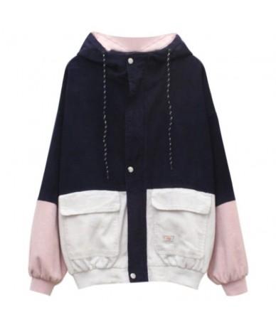 Women Unisex Color Block Patchwork Corduroy Hooded Jacket Hip Hop Coat Oversized - BL - 453023160847-1