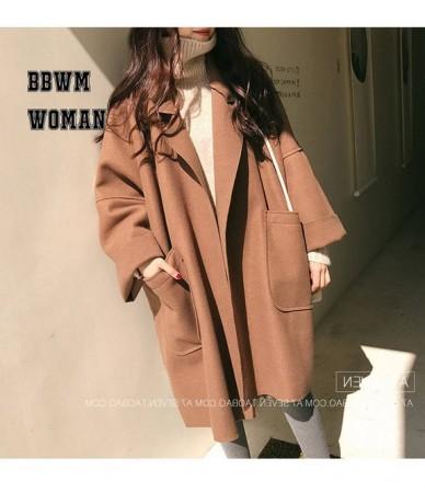 Plus Size Loose Oversize Silhouette Woolen Coat Female Korean Long Black Brown Fashion Jacket ZO939 - brown - 413059688070-2